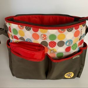 Grace diaper bag  brown/red with red changing mat